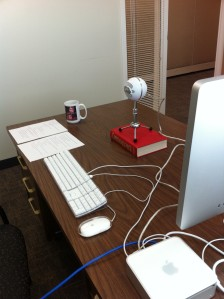My first attempt at a recording setup in a spare office at my day job.