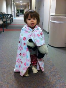 Addie in the hall of the surgery center
